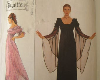 Renaissance Dress Costume Sewing Pattern Simplicity 8619 Empire Waist Gown Goth Ruffle Neck Cosplay Begotten Size 10 12 14 UNCUT