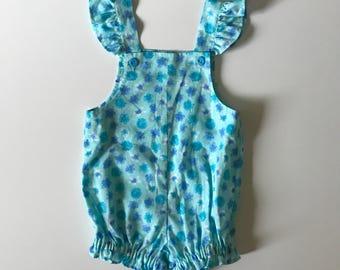 Vintage Handmade Blue and Teal Ruffle Sleeve Romper Vintage Blue Baby Romper