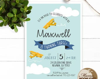Airplane Theme Birthday Party Printable Invitation - DIY - Fly on Over - Plane - Girl or Boy Birthday Invitation Yellow Blue