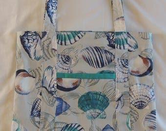 Shopping Bag - Strong Tote Bag - Lined Bag -  Teal Bag - Craft Bag - Beach Bag - Reusable Bag - Handmade Bag - Market Bag