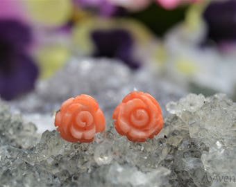 Carved Coral Rose Earrings with Sterling Silver Posts