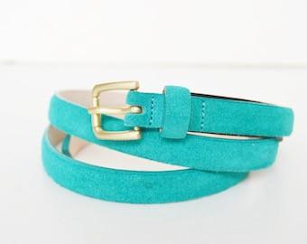 massimo dutti leather belt, green belt, finite belt, size 85 belt, size M belt, gold buckle, dress belt