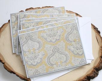 Yellow and Gray Paisley Card Set - Thank You Card Set - Greeting Card Set - Wedding Card Set - Blank Card Set of 6