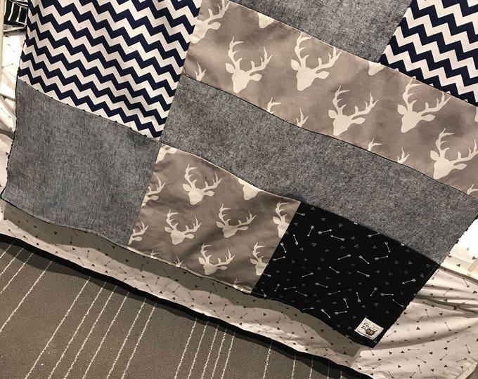 Featured listing image: Baby blanket ,deer heads, navy chevron, denim navy. Navy minky