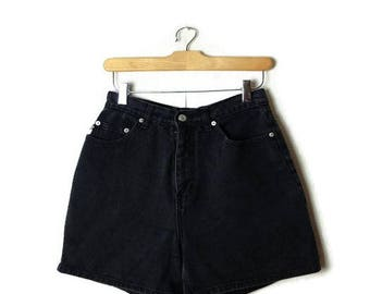 Vintage Black Denim Shorts from 90's/grunge/W24*
