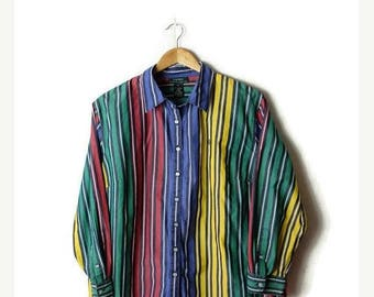ON SALE Ralph Lauren Multicolor Stripe cotton Long sleeve Blouse from 90's