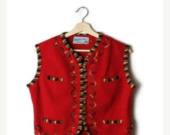 ON SALE Vintage Red x Colorful Stripe/embroideries Wool button down Vest from 1960's*