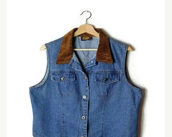 ON SALE Vintage Denim x Brown Corduroy collared Sleeveless Blouse/Vest  from 90's*