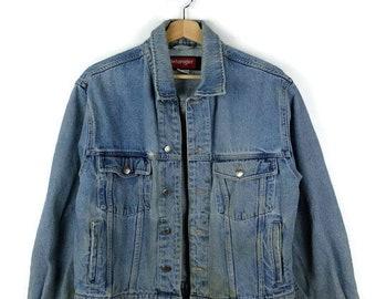 Damaged Wrangler Blue Denim Jacket /Jean Jacket  from 90's