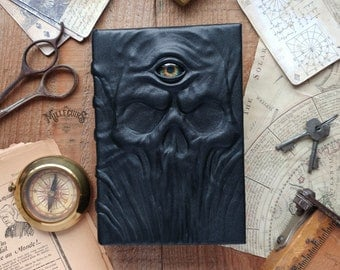Third eye, vision handmade leather grimoire, handcrafted book of shadows, dark strange oracle gift, wiccan pagan