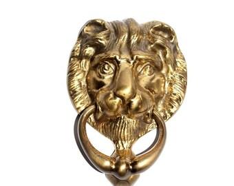 Brass Lion Door Knocker. Door Knocker. Brass Door Knocker. Vintage Brass. Lion. Lion Door Knocker. Brass Door Furniture. Vintage Home.