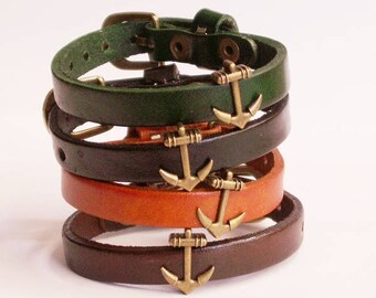 Bronzed Vintage - Leather Bracelet with anchor, 4 bracelet - colours selectable