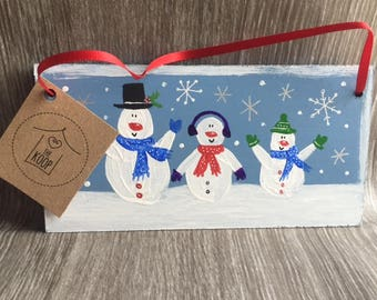 Limited Edition Hand Painted Christmas Sign, Snowman Family Option to personalise.