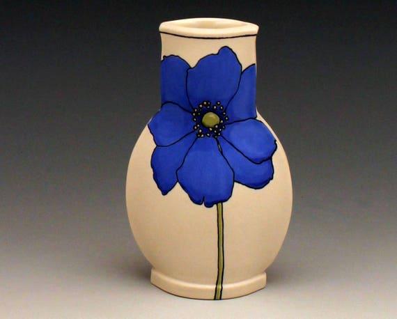 Blue Japanese Anemone Mini Vase