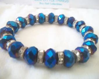 Royal Blue Beaded Stretch Bracelet Shiny Faceted Beads Handmade Jewelry