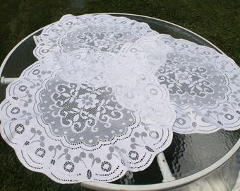 Set of Three Large Round White Lace Doilies - Doily - Home Decor - Centerpiece