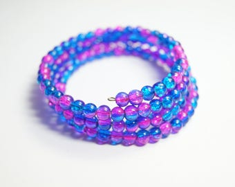 Bracelet Glassbeads Unique blue pink