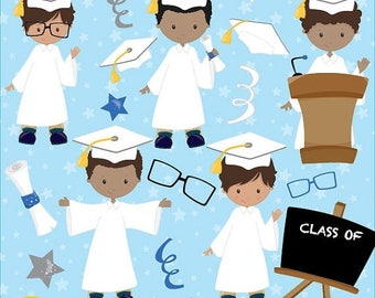 80% OFF SALE Graduation boys clipart commercial use, vector graphics, digital clip art, digital images - CL843