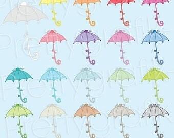 80% OFF SALE 19 umbrella clipart commercial use, vector graphics, digital clip art, digital images  - CL497