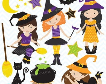 80% OFF SALE Halloween witches clipart commercial use, vector graphics, digital clip art, digital images - CL551