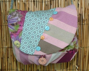 Bag small Messenger bag shoulder strap, Valentine Collection Patchwork fabrics