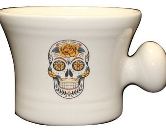 Yellow Rose Day of the Dead - Sugar Skull Blue - Dia De Los Muertes- shaving mug