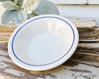 Vintage White Ironstone Bowl with Blue Stripe BUFFALO CHINA Farmhouse Decor Fixer Upper Decor Restaurant Ware Berry Bowl Best China