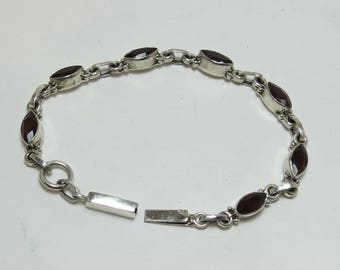 Vintage Silver Garnet Bracelet