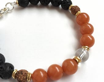 Black Lava Essential Oil Diffuser Bracelet/Red Aventurine Bracelet/Lava Bracelet/Red/ Orange /Gemstone/Aromatherapy Bracelet