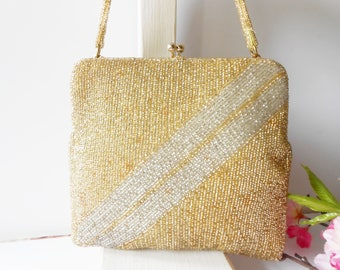 Gold Evening Bag, Vintage Walborg Purse, Gold Beaded Purse, Gold Bead Evening Bag, Glam Gold Bag EB-0659