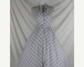 On sale 1950s 1960s Johnathan Logan Designer Vintage Purple Plaid FULL SKIRT Cotton Party Dress W 27