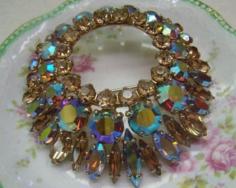 "Vintage ""Sherman"" Brooch...Topaz Aurora Borealis Swarovski Crystals...Circa 1950s....Tiered Topaz Sherman Pin"