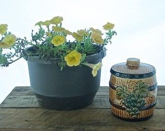 Vintage Ceramic Lidded Barrel Cookie Jar, Biscuit Jar with Grapes, Made in Japan, Kitsch, Kitsch Kitchen, Mid Century, 1950s