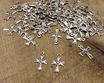 Rustic Silver-Plated Cross Charms