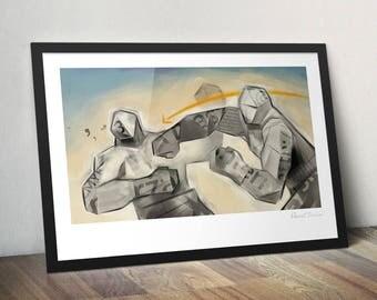 Paper Giants. Illustration art poster giclée print signed.