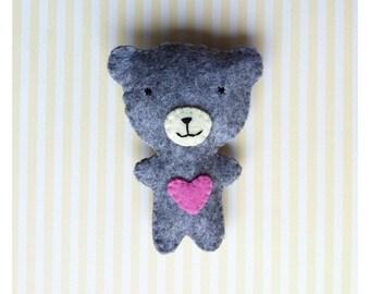 GREY TEDDY BEAR BROOCH