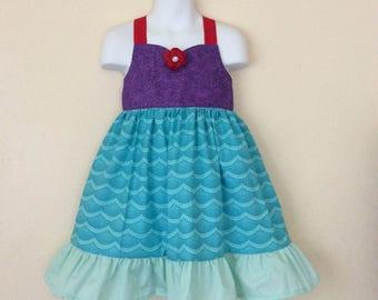 Toddler Girls little  mermaid halter dress 3T