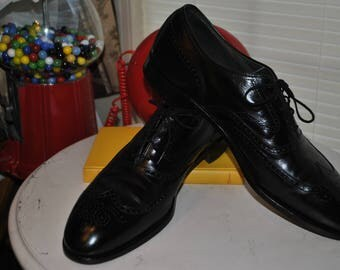 Men's, Wingtips, Black, Italian, Leather, Vintage, Borgues, Full Wingtip, Oxfords, by, E, T, Wright, Shoe, Size, 14