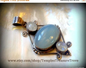 On Sale Watery Blue Chalcedony and Moonstones Pendant 925 stamp Sterling Color Shifting Pendant Mid Century Modern Pendant for Her Seafarer
