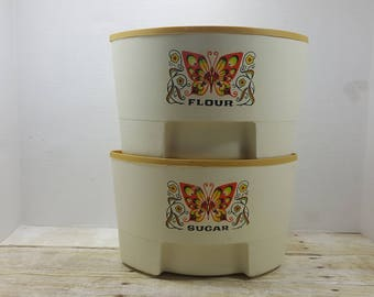 Set of 2 Butterfly Canisters, Sterlite, 1960s retro groovy