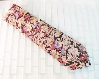 Pierre Cardin Floral Brown Blue Rose Silk Tie