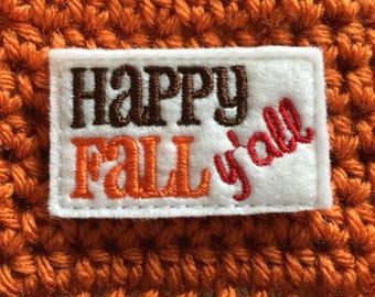 Happy Fall Y'all Crocheted Cup Cozy