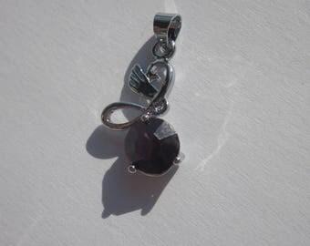 Pendant 2.3 cm (7 PV48) glass bead and metal