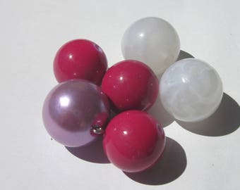 6 acrylic beads in mixed colors 18 to 20 mm (PV35-13)