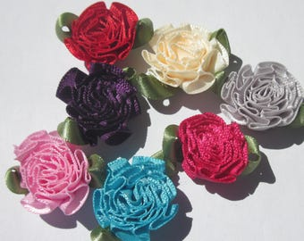 7 large multicolored 25mm (A125) fabric flowers