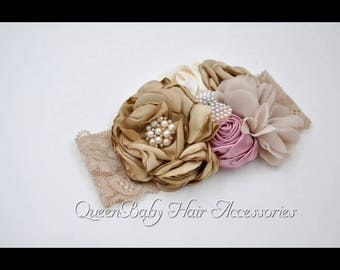Think Satin Flower Headband lace pearls accents beautiful