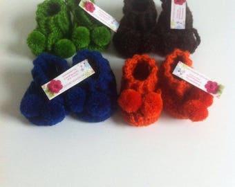 set of 4 pairs of baby booties handmade crochet