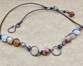 Rustic Chic Necklace - Carnelian Necklace - copper wire wrapped - copper and leather necklace