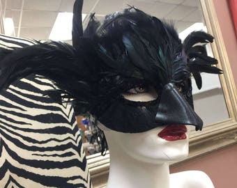 Adult Mardi gras Mask black Costume style Raven  bird feather mask lace sequins Leather and lace 2-3 day delivery