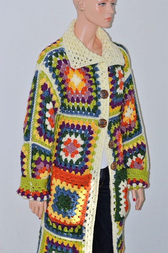 Granny Square Crochet Cardigan/ Long crochet cardigan